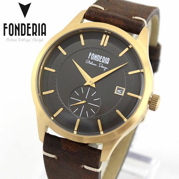 【送料無料】 FONDERIA フォンデリア STRAMLINER ストリームライナー メンズ 腕時計 革バンド レザー クオーツ アナログ 茶 ブラウン 金 ゴールド