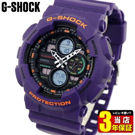 CASIO カシオ G-SHOCK Gショック ジーショック GA-140-6A メンズ 腕時計 ウレタン 多機能 クオーツ 黒 ブラック オレンジ 紫 パープル 海外モデル誕生日 男性 父の日 ギフト プレゼント