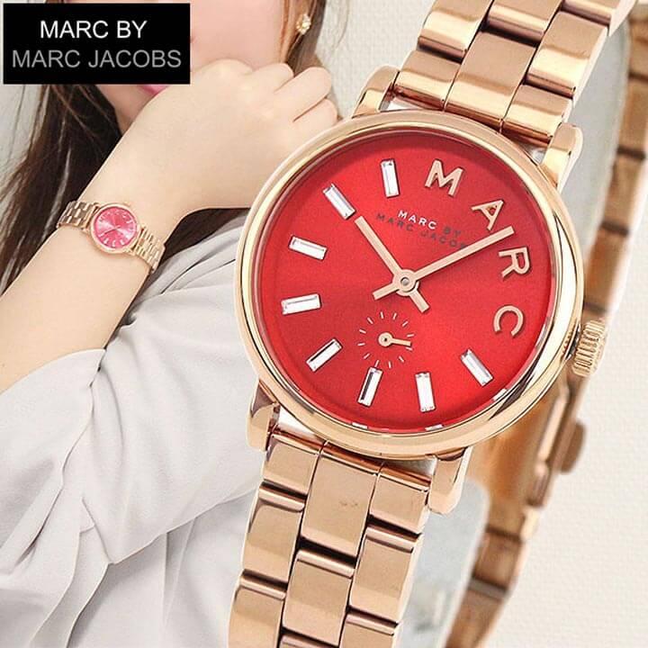 【送料無料】 MARC BY MARC JACOBS マークバイマーク ジェイコブス MBM3347 海外モデル レディース 腕時計 ウォッチ メタル バンド クオーツ アナログ 赤 レッド 金 ピンクゴールド