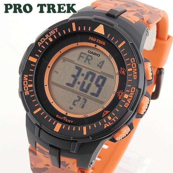 【送料無料】 CASIO カシオ PRO TREK プロトレック PRG-300CM-4 海外モデル メンズ 腕時計 ウォッチ 多機能 タフソーラー 迷彩 オレンジ 誕生日プレゼント ギフト