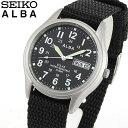 SEIKO セイコー ALBA アルバ AEFD557 国内正規品 メンズ 腕時計 ウォッチ ナイロン ソーラー アナログ 黒 ブラック 銀 シルバー 商品到着後レビューを書いて7年保証 誕生日プレゼント 男性 ギフト ブランド
