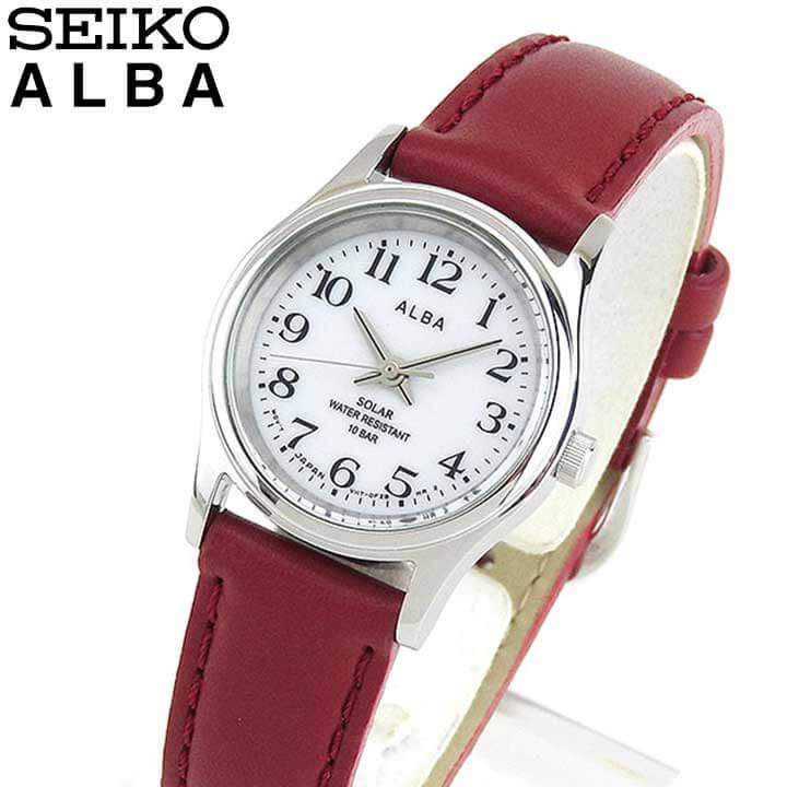 SEIKO セイコー ALBA アルバ AEGD561 国内正規品 レディース レディス 腕時計 ウォッチ レザー バンド ソーラー アナログ 赤 レッド 白 ホワイト 商品到着後レビューを書いて7年保証 誕生日プレゼント 女性 ギフト