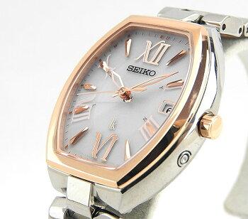 SEIKOセイコーLUKIAルキアSSQW028国内正規品レディース女性用腕時計ウォッチチタンメタルバンド電波ソーラーアナログ金ピンクゴールド銀シルバー