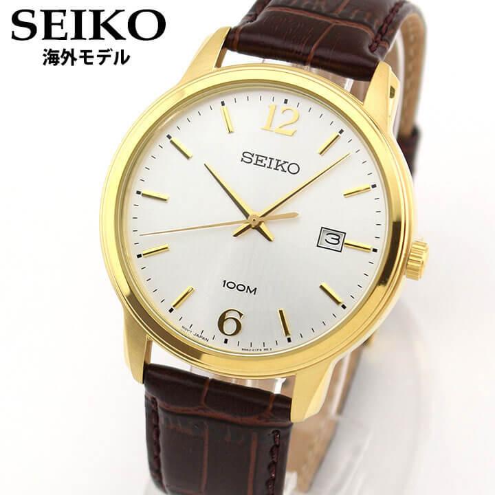 【送料無料】 SEIKO セイコー NEO CLASSIC ネオクラシック SUR266P1 メンズ 腕時計 革ベルト レザー カレンダー クオーツ アナログ 茶 ブラウン 金 ゴールド 海外モデル