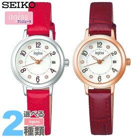 f0bfdb60ad27 SEIKO セイコー ALBA アルバ ingenu アンジェーヌ レディース 腕時計 革ベルト レザー 白 ホワイト 赤 レッド ピンク