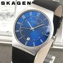 SKAGENスカーゲン233XXLSLN海外モデルメンズ腕時計ウォッチ革バンドレザークオーツアナログ黒ブラック青ブルー銀シルバー