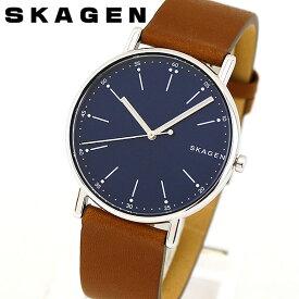 SKAGEN スカーゲン SIGNATUR シグネチャー SKW6355 メンズ 腕時計 革ベルト レザー 青 ネイビー 茶 ブラウン 海外モデル 誕生日プレゼント 男性 ギフト ブランド