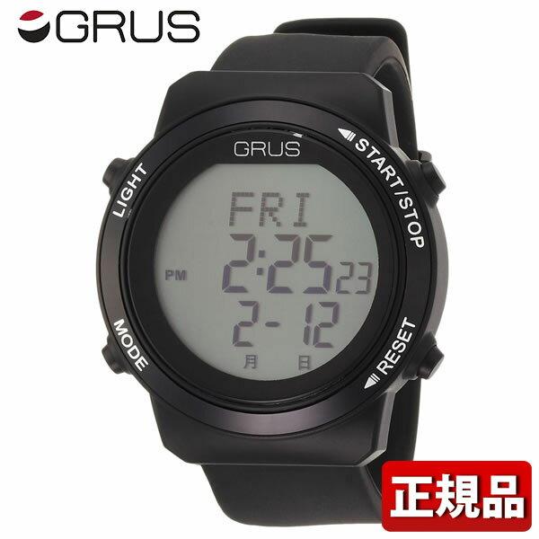【送料無料】 GRUS グルス ウォーキングウォッチ 歩幅計測機能付 GRS001-02 メンズ レディース 腕時計 男女兼用 ユニセックス 黒 ブラック