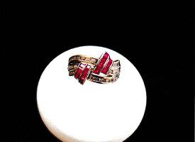 PT900 プラチナ ルビー ダイアモンド リング