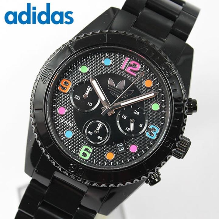 【送料無料】アディダス adidas originals ADH2946 人気シリーズ BRISBANE ブリスベン ユニセックス ペアにも メンズ 腕時計時計 カジュアル 黒 ブラックマルチカラー クロノグラフ 海外モデル 誕生日プレゼント ギフト