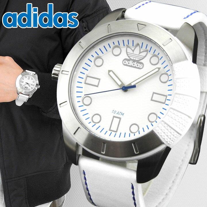 【送料無料】adidas アディダス SUPERSTAR スーパースター 白 メンズ 腕時計 ウォッチ 防水 革ベルト レザー ホワイト ADH3036 海外モデル 誕生日プレゼント 男性 父の日ギフト