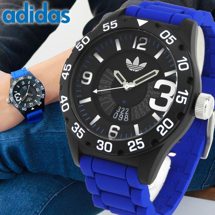 adidas アディダス NEWBURGH ニューバーグ メンズ 腕時計 ウォッチ 防水 シリコン ラバー バンド クオーツ アナログ 黒 ブラック 青 ブルー 海外モデル ADH3112【あす楽対応】 誕生日プレゼント 男性 ギフト