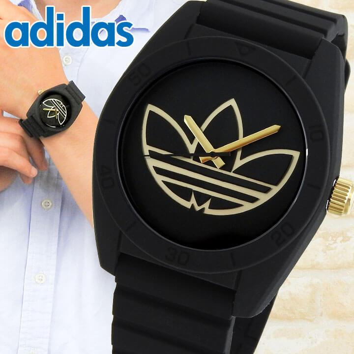 adidas アディダス SANTIAGO サンティアゴ メンズ 腕時計 シリコン ラバー バンド 黒 ブラック 金 ゴールド カジュアル アナログ クオーツ ADH3197 海外モデル 誕生日プレゼント 男性 ギフト 就職祝い 入学式