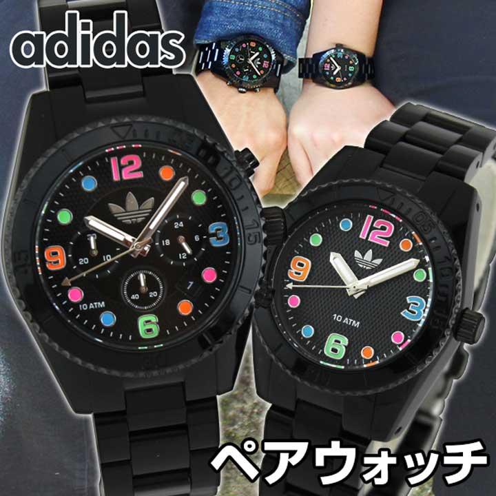 【送料無料】adidas アディダス ペアウォッチ メンズ レディース 腕時計 ウォッチ 黒 ブラック マルチカラー 誕生日 ギフト カップル 結婚祝い 夫婦 おそろい