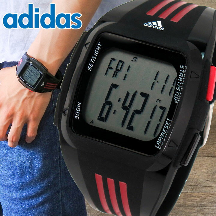 【送料無料】adidas アディダス ランニング デュラモ DURAMO XL ラージ ADP6097 海外モデル メンズ 腕時計 ウォッチ デジタル 黒 ブラック 赤 レッド スポーツ 誕生日プレゼント 男性 ギフト