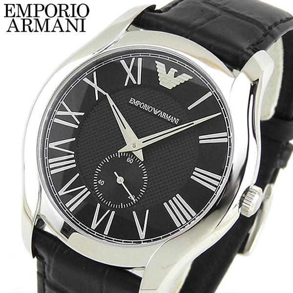 【送料無料】 EMPORIO ARMANI エンポリオアルマーニ メンズ 腕時計 時計 ウォッチ watch レザー 黒 ブラック 銀 シルバー AR1703 海外モデル 誕生日プレゼント ギフト