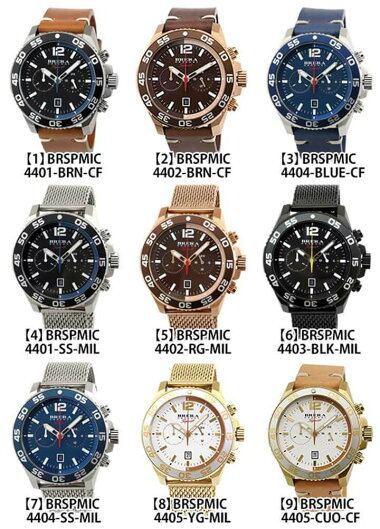 BRERAOROLOGIブレラオロロジSportスポーツクロノグラフカレンダーメンズ腕時計革ベルトレザー黒ブラック茶ブラウンシルバーローズゴールド海外モデル