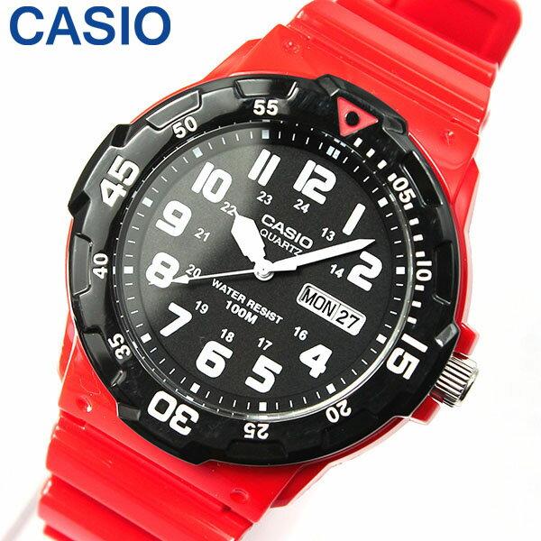 【3ヶ月保証】【専用BOXなし】CASIO チープカシオ チプカシ スタンダード MRW-200HC-4B 海外モデル メンズ 腕時計 時計 クオーツ アナログ レッド ブラック 赤 黒 誕生日プレゼント 男性 ギフト