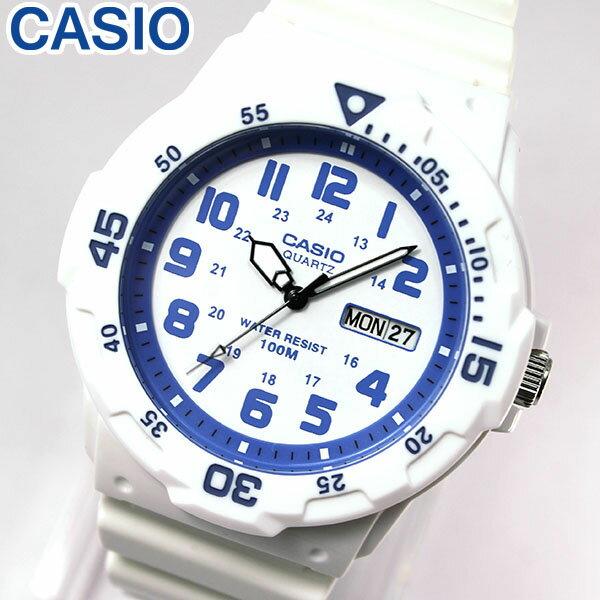 【3ヶ月保証】専用BOXなし CASIO チープカシオ チプカシ スタンダード MRW-200HC-7B2 海外モデル メンズ 腕時計 時計 クオーツ アナログ ホワイト ブルー 白 青 誕生日プレゼント 男性 ギフト