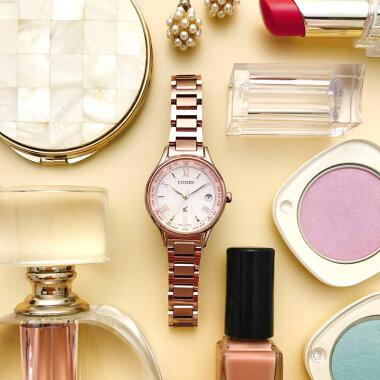 CITIZENシチズンxCクロスシーティタニアラインレディース腕時計チタンエコドライブ電波ピンクゴールド誕生日プレゼント女性ギフト国内正規品商品到着後レビューを書いて7年保証