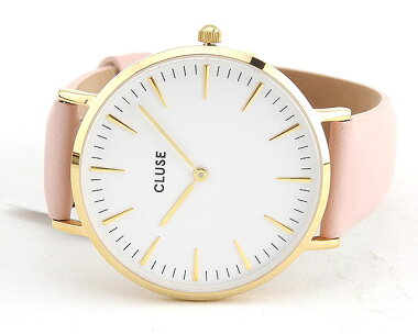 CLUSEクルースLaBohemeラ・ボエームCL18410海外モデルレディース腕時計ウォッチ革バンドレザークオーツアナログ白ホワイトピンク金ゴールド
