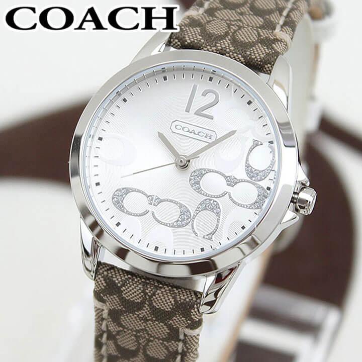 COACH コーチ ニュークラシック シグネチャー 14501620 海外モデル レディース 腕時計 ウォッチ 革ベルト レザー クオーツ アナログ 銀 シルバー 誕生日プレゼント 女性 ギフト