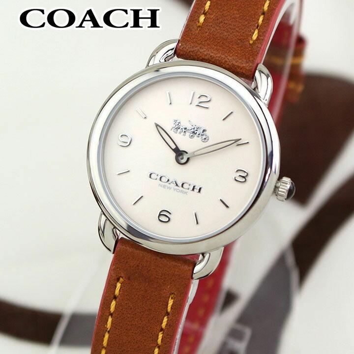 【送料無料】 COACH コーチ DELANCEY SLIM デランシースリム 14502789 レディース 腕時計 革ベルト レザー アナログ 茶 ブラウン オフホワイト 海外モデル