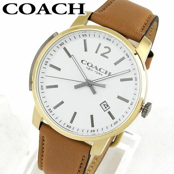 【送料無料】COACH コーチ BLEECKER ブリーカー 14602005 海外モデル アナログ メンズ 腕時計 ウォッチ 白 ホワイト 茶 ブラウン 革ベルト レザー 誕生日プレゼント 男性 ギフト