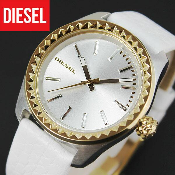 【送料無料】 DIESEL ディーゼル KRAY KRAY DZ5410 海外モデル レディース 腕時計 watch 新品 時計 カジュアル ブランド ウォッチ DIESEL ディーゼル クオーツ ホワイト×ゴールド 金 白 レザー 誕生日プレゼント 女性 ギフト