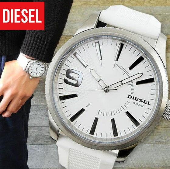 【送料無料】 DIESEL ディーゼル RASP ラスプ メンズ 腕時計 シリコン ラバー クオーツ アナログ 白 ホワイト シルバー DZ1805 海外モデル ブランド 誕生日プレゼント 男性 ギフト