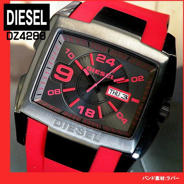 【送料無料】DIESEL ディーゼル DZ4288 海外モデル Bugout バグアウト 赤 黒 レッド ブラック アナログ 日付 カレンダー メンズ 腕時計 watch 時計ビッグサイズ カジュアル おしゃれ 誕生日プレゼント 男性 ギフト
