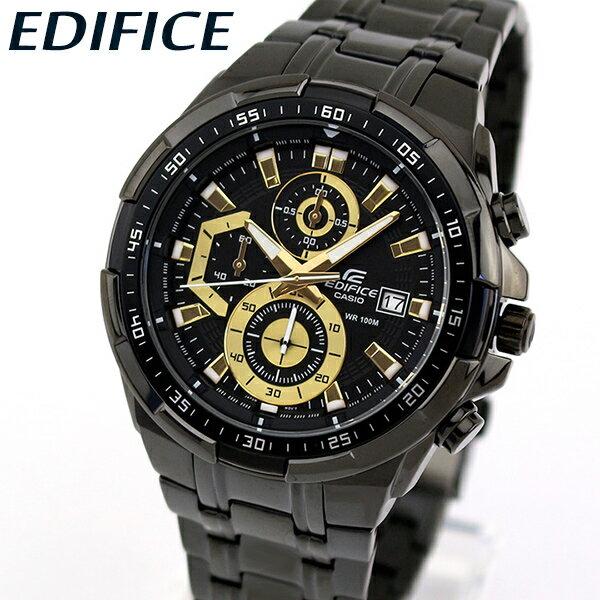 【送料無料】 CASIO カシオ EDIFICE エディフィス EFR-539BK-1AV メンズ 腕時計 メタル クロノグラフ カレンダー クオーツ アナログ 黒 ブラック 金 ゴールド 海外モデル