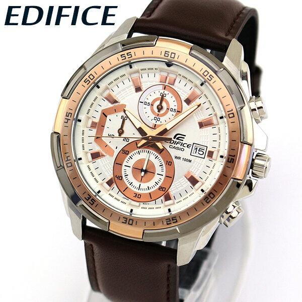【送料無料】 CASIO カシオ EDIFICE エディフィス EFR-539L-7AV メンズ 腕時計 革ベルト レザー クロノグラフ カレンダー クオーツ アナログ 白 ホワイト 茶 ブラウン 金 ゴールド ピンクゴールド ローズゴールド 海外モデル
