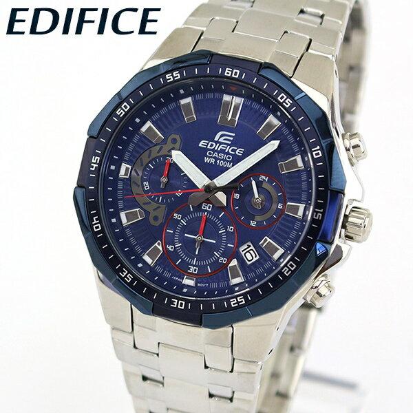【送料無料】 CASIO カシオ EDIFICE エディフィス EFR-554RR-2AV メンズ 腕時計 メタル クロノグラフ カレンダー クオーツ アナログ 青 ネイビー 銀 シルバー 海外モデル
