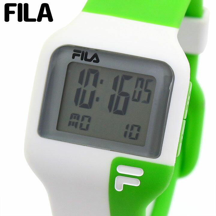 【送料無料】FILA フィラ 38-029-003 メンズ レディース 腕時計 男女兼用 ユニセックス ウレタン カジュアル デジタル 白 ホワイト 緑 グリーン 海外モデル 母の日