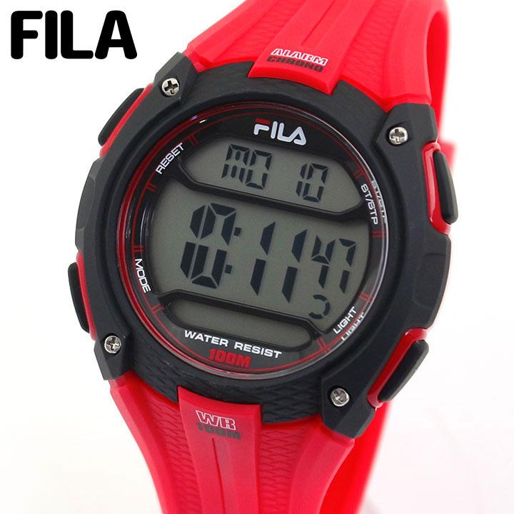【送料無料】FILA フィラ 38-094-003 メンズ 腕時計 ウレタン カジュアル デジタル 黒 ブラック 赤 レッド 誕生日プレゼント 男性 父の日 ギフト 海外モデル