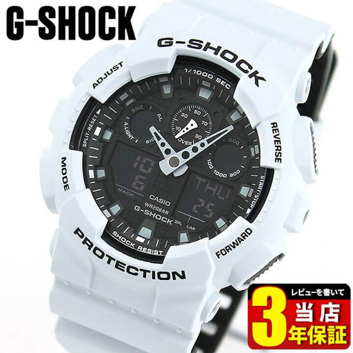 CASIO カシオ G-SHOCK Gショック ビッグフェイス GA-100L-7A レイヤードカラー 海外モデル メンズ 腕時計 クオーツ アナログ デジタル 黒 ブラック 白系 グレー 誕生日プレゼント 男性 ギフト 商品到着後レビューを書いて3年保証