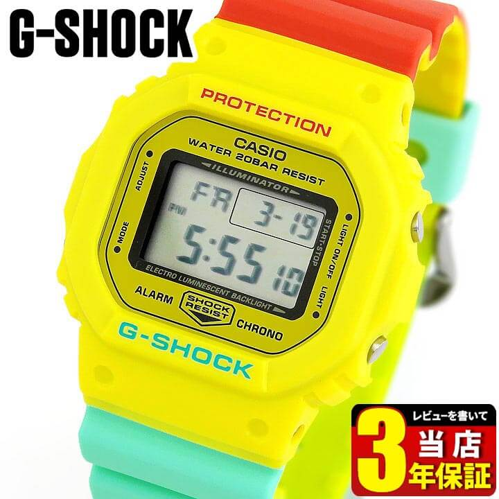 【送料無料】 CASIO カシオ G-SHOCK Gショック ジーショック Breezy Rasta Color ブリージー・ラスタカラー メンズ 腕時計 ウレタン 多機能 クオーツ デジタル 赤 レッド 黄色 イエロー 緑 グリーン DW-5600CMA-9 海外モデル