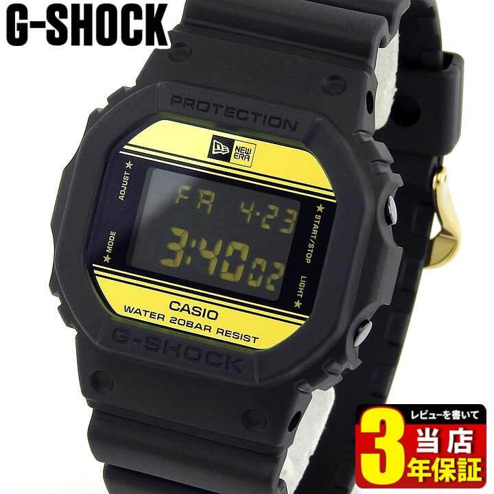 【送料無料】G-SHOCK Gショック 35周年 ニューエラ コラボモデル 限定モデル CASIO カシオ ジーショック DW-5600NE-1 メンズ 腕時計 デジタル 黒 ブラック 金 ゴールド 誕生日プレゼント 男性 バレンタイン ギフト 海外モデル