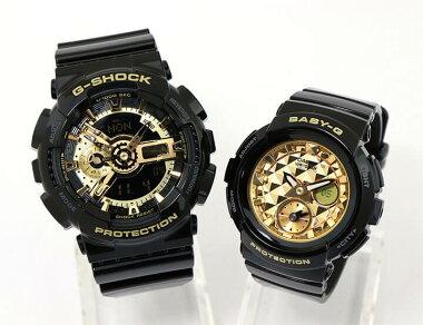 CASIOカシオG-SHOCKペアウォッチGA-110GB-1ABGA-195M-1AGショックジーショックBaby-GベビーGPairwatchウレタン多機能カレンダーアナログデジタル黒ブラック金ゴールド海外モデル