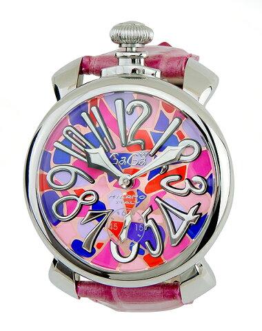 GAGAMILANOガガミラノManualeマヌアーレ48mmメンズ腕時計革ベルトレザー手巻きアナログピンクモザイク誕生日プレゼント男性ギフト5010.MOSAICO.2海外モデル
