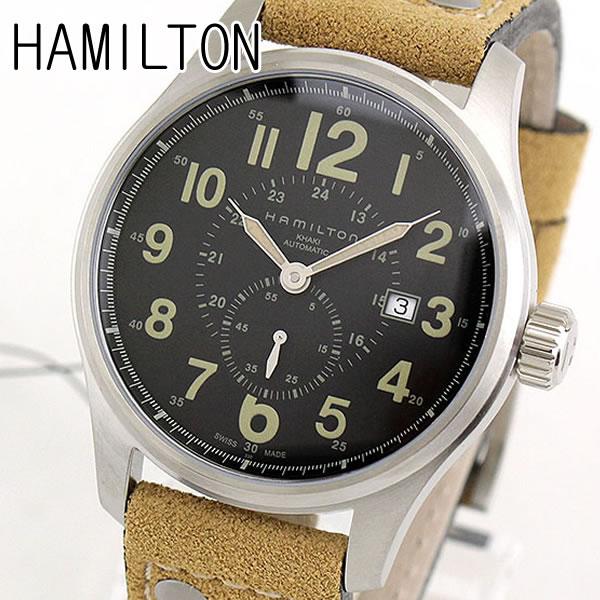 【送料無料】HAMILTON ハミルトン カーキ オフィサー オート H70655733 海外モデル メンズ 腕時計 ウォッチ 革ベルト レザー 機械式 メカニカル 自動巻き アナログ ブラック カーキ ブラウン 誕生日プレゼント 男性 ギフト