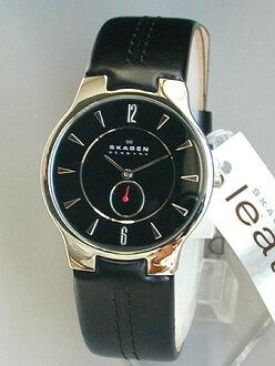 ★ 决定SKAGEN sukagen手表钟表433LSLB厚度6mm的超纤细情况时尚的设计也对西服样子好的文字板彩色黑色古典皮革带北欧设计