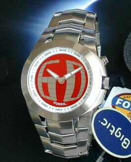 翻译和价格手表案例部分在凹痕都特殊的价格很好! 化石化石 Bigtic VIC 刻度线滚动滚动刻度 BG2151 男装看手表字符板红色和银色金属首次销售