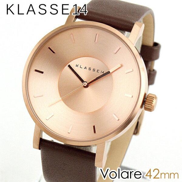 【送料無料】Klasse14 クラス14 KLASSE14 Volare VO14RG002M 海外モデル メンズ レディース 腕時計 革ベルト レザー クオーツ アナログ 茶 ブラウン 金 ピンクゴールド 42mm 誕生日プレゼント 女性 ギフト 男性 ギフト