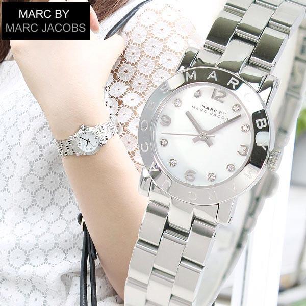 【送料無料】マークバイマークジェイコブス 時計 MARC BY MARC JACOBS MARCJACOBS マークバイマークMBM3055スモール レディース 腕時計 シルバー 白 ホワイト誕生日プレゼント ギフト
