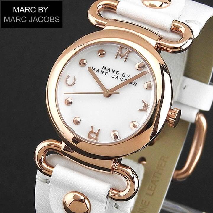 【送料無料】MARC BY MARC JACOBS マークバイマーク ジェイコブス MOLLY モーリー MBM8639 海外モデル レディース 腕時計 革ベルト レザー クオーツ アナログ 白 ホワイト 金 ピンクゴールド誕生日プレゼント 女性 ギフト