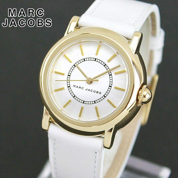 【送料無料】MARC JACOBS マークジェイコブス COURTNEY コートニー MJ1449 海外モデル レディース 腕時計 ウォッチ 革ベルト レザー アナログ 白 ホワイト 金 ゴールド 誕生日プレゼント 女性 ホワイトデー ギフト