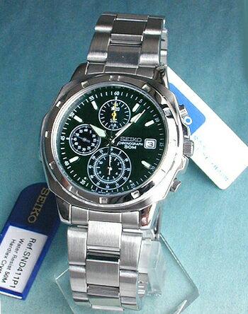SEIKO セイコー 逆輸入 メンズ 腕時計 時計 薄型クロノグラフ SND411P 正規海外モデル モスグリーン 日本製ムーブメント 誕生日プレゼント 男性 父の日 ギフト