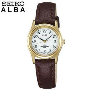 SEIKO セイコー ALBA アルバ AEGD544 国内正規品 レディース 腕時計時計革バンド レザー ソーラー ビジネス スーツ アナログ 茶色 ブラウン 金色めっき 誕生日プレゼント 女性 ギフト 商品到着後レビューを書いて7年保証
